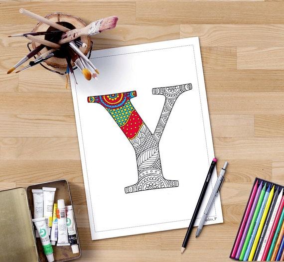 Zentangle Alphabet Malvorlagen Buchstaben Y Henna Doodle