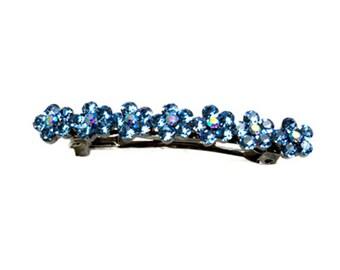 Hand Made Hair Jewelry swarovski crystal Medium Flower Barrette, Blue Rhinestone(SO7024-bl)