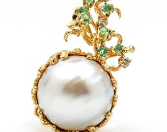 Large Mabe Pearl Ring with Emeralds & Diamonds in 14k Yellow Gold
