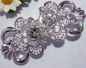 1 Pr  Bridal Clear White Rhinestone Clasp Clothing Buckle Closure Hook Silver Plated BC25