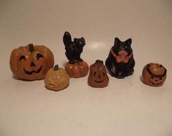 Vintage Halloween Figurines Lot of 6 Black Cat Jack O Lantern