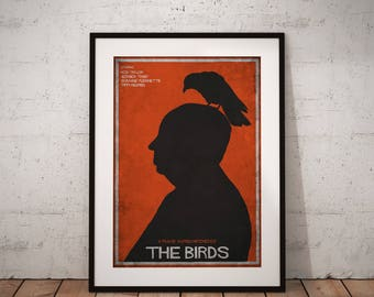 The Birds - alternative poster, Alfred Hitchcock, Rod Taylor, Tippi Hedren, póster de pelicula, cartel retro, ilustración, saul bass estilo