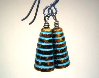 Buzz Glass Beehive Earrings on Niobium Ear Wires choose black, blue, light purple, drop earrings, incised beads
