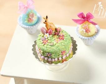 MTO-Spring Garden Easter Cake Decorated with Bunny Cookie, Pink Eggs, Blossoms - Miniature Food in 12th Scale for Dollhouses