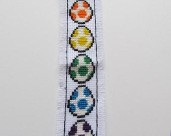 Cross Stitched Bookmark - Rainbow Yoshi Eggs