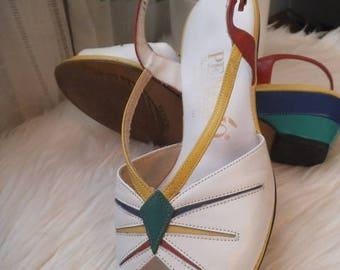 Vintage 80s Color Block Sling Back Sandals ~ Size 6 1/2 Penaljo