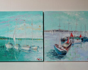 Special Offer,Set of two paintings,Sailing Art,Boat,Seascape Art,Seascape Blue Sea Painting,Seascape Impressionist,Seascape Texture Painting
