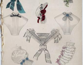 1860 Fashion Plate from the Petit Courrier des Dames Modes de Paris Magazine, Victorian, French, Women, Millinery, Hats, Antique, Ribbons