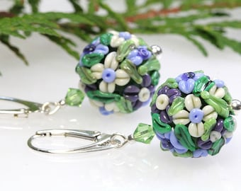 Sterling silver lampwork earrings,  floral ball, sra