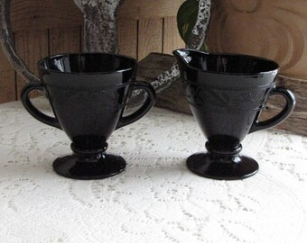 Hazel Atlas Black Cloverleaf Sugar Bowl and Cream Pitcher 1930-1936 Depression Glass Vintage Dinnerware and Replacements