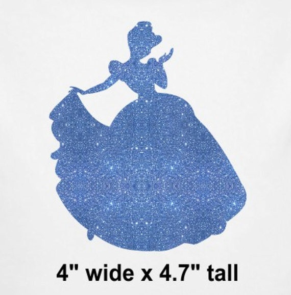 cinderella silhouette iron on glitter disney transfer patch. Black Bedroom Furniture Sets. Home Design Ideas