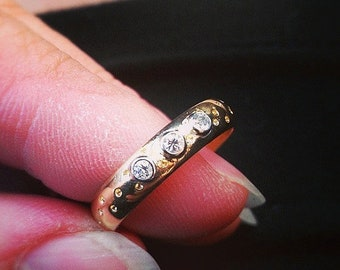 TAX Season Sale 14 kt Yellow Gold Classic Three Diamond 4mm Wide Commitment or Wedding Band Custom made Size 5 through 9