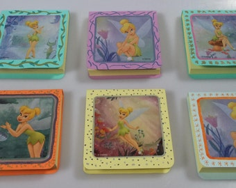 Fairy Tinkerbell Inspired Handmade Pocket Notebook with genuine Post-It Note pad  Fish Extender Gift Party Favor  Stocking Stuffer