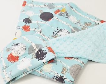 Birch Woods Minky Baby Blanket Set - Minky Blanket & Beanie - Ready to Ship