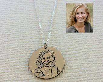Portrait necklace etsy custom portrait necklace photo necklace engraved photo engraved jewelry actual picture aloadofball Choice Image