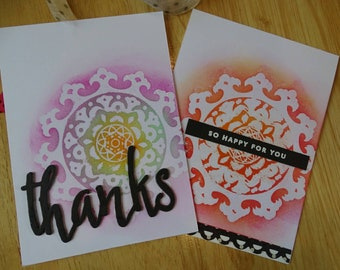 Thank you card, Happy card, handmade greeting card, handmade stamped card, all occasion card