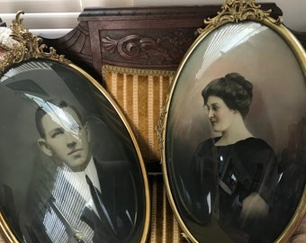Rare Find! Extra Large Vintage Pair of Victorian Pictures Brass Oval Convex Bubble  Frames French Country Chic Portraits Ornate Brass Wall D