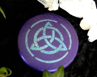 Pentacle altar TRIQUETRA wood hand painted, purple, glitter wicca, Pagan, esoteric, magic, ritual