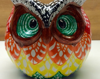 Colorful Zentangle-Inspired hand-decorated ceramic owl vase