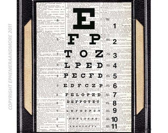 OPTOMETRIST EYE CHART art print vision exam optometry doctor medical science poster vintage dictionary book page black white wall decor 8x10