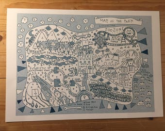 "Riso print: ""Theme Park Map"" A4 size Limited Edition Lizz Lunney Comic"