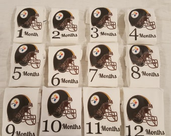 Steelers theme month by month onesies, Steelers Theme onesies, Football theme baby onesies, Sports onesies, Football baby onesies, Football