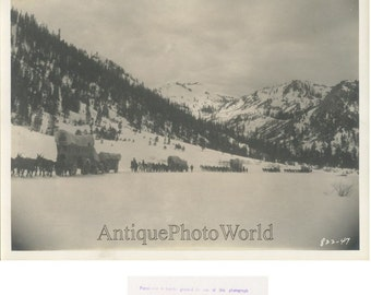 Fighting Caravans winter landscape antique photo by Bredell California