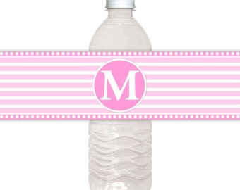 Monogram Water Bottle Labels, CUSTOM Printable Stripes and Monogram, you print, you cut, DIY water bottle labels
