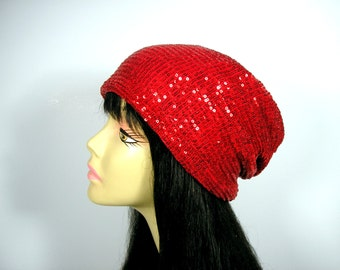 Red Sequined Slouch Hat for Hair Loss CUSTOM SIZES Red Sequined Slouchy Beanie Glamorous Hats for Hair Loss Chic Chemo Hats Sequin Chemo Cap