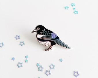 Magpie Enamel Pin - Magpie Lapel Pin - British Bird Pin - Hard Enamel Pin - Bird Brooch - Nature Pin - Bird Lover Gift - Silver Enamel Pin
