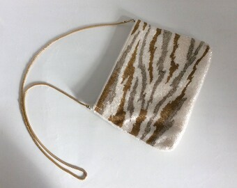 LA REGALE Vintage Zebra-print beaded evening bag ~ Gold and Silvery print over Pearl white ~ Gold chain metal strap ~ Shoulder purse <3