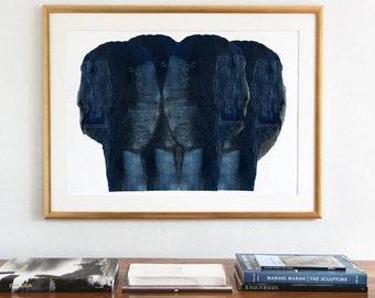Dark Blue Abstract Art, Large Wall Art, Giclee Print of Original Modern Blue Painting, Indigo Print
