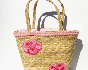 Rose Painted Straw Tote