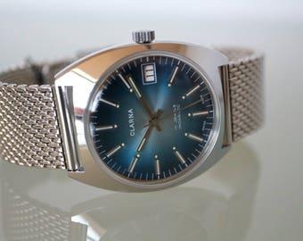 Vintage Mens wristwatch Steel, Swiss made, dial Blue