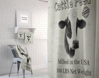 Cattle Feed Shower Curtain Farmhouse Style,  Bath Mat, Bath Towels