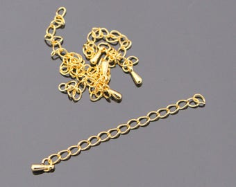 Shiny Gold Tarnish resistant Treated Chain Extender, 10 pc, K615303