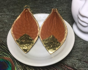 Gold Leaf Reclaimed Leather Earrings
