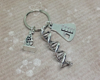 DNA Keyring, Science Keychain, Double Helix Keychain, DNA Keychain, Beaker Keyring, Microscope Keyring, Genetics Gift, DNA Strand,