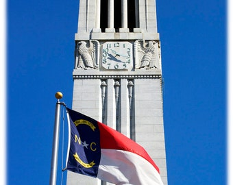 NC State Memorial Bell Tower and NC Flag