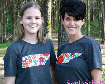 Tennessee State shirt - Tennessee State applique shirt - Tennessee - floral - Tennessee Sihouette T-shirt