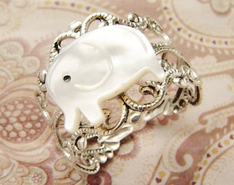 Lucky Elephant Ring, novelty ring, mother of pearl, antiqued silver filigree ring
