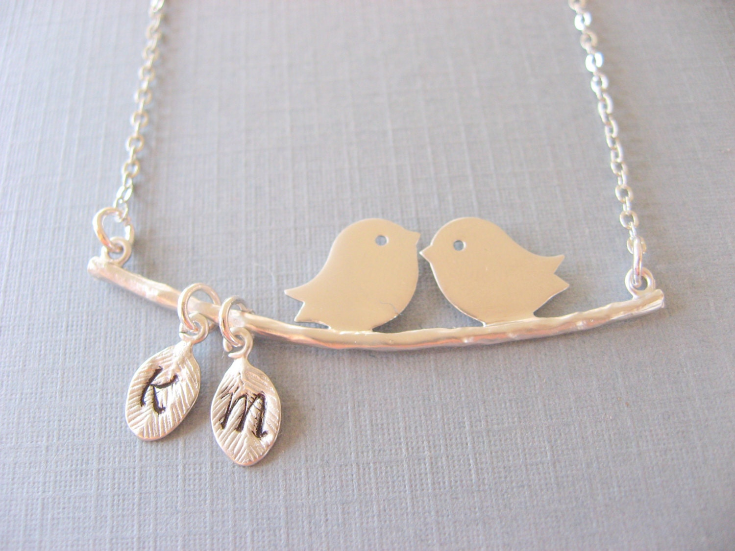 kissing leaf couple birds bird pin the personalized initials in necklace love gold on
