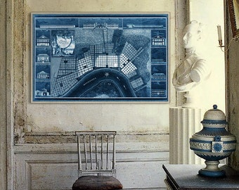 "New Orleans map 1817 Vintage map of New Orleans, LA in 4 sizes up to 54x36"" Large poster, also in blue, NOLA map - Limited Edition of 100"