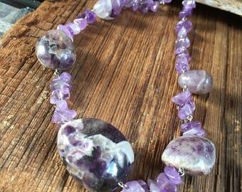 amethyst choker, purple necklace, gift for her, Christmas gift for her, purple choker, amethyst jewelry, purple stone choker, natural stone