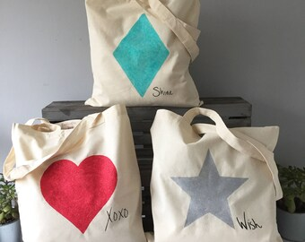 Set of 3 Glitter Tote bags: Love heart XOXO, shine like a diamond, wish upon a star, reusable cotton, canvas bag for life, gift for her,