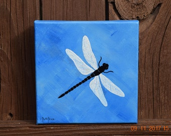 Beautiful Blue Dragonfly handpainted on 6x6 Canvas