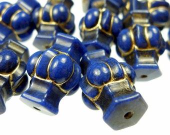 Vintage blue beads, plastic 20pcs