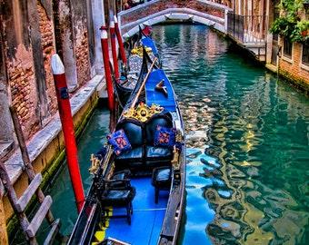 16 x 20 large art print - Intermezzo - Venice, Italy - Fine art travel photography - dreamy - indigo blue, green, red