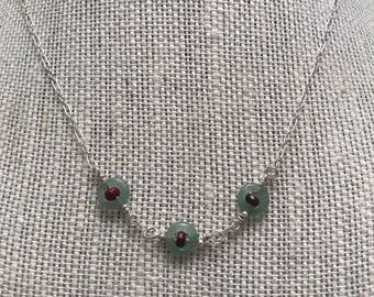 Green Aventurine and Coral Silver Necklace