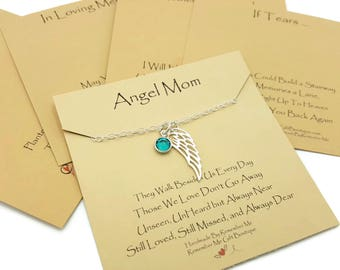 Memorial Gift, Sympathy Gift, Memorial Necklace with Sterling Silver Angel Wing and Birthstone, You Pick a Product Card, Remembrance Jewelry